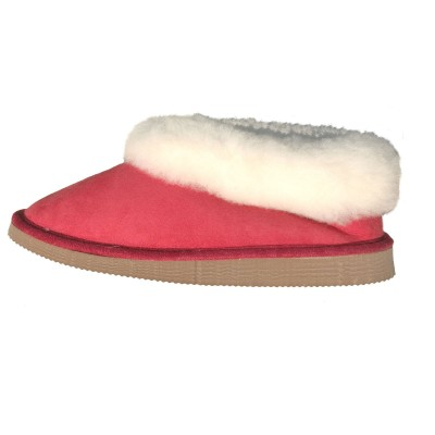 6c65f657fc2fe chaussons mixte rouge fourrés peau de mouton - tannage naturel