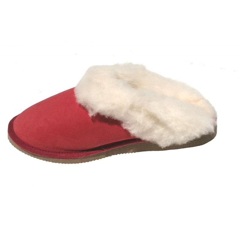 52ed1d5557ec mules filles rouges fourrées peau de mouton - tannage naturel. Loading zoom
